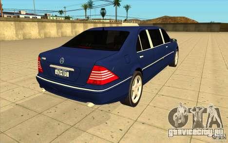 Mercedes-Benz S600 Pullman W220 для GTA San Andreas вид сбоку