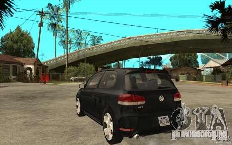 VW Golf 6 GTI для GTA San Andreas вид сзади слева