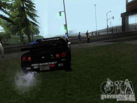 Nissan Skyline R34 Police для GTA San Andreas вид сзади слева