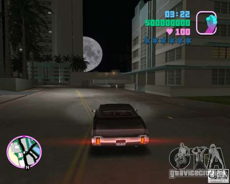 Обновлённый Sabre для GTA Vice City вид сзади слева