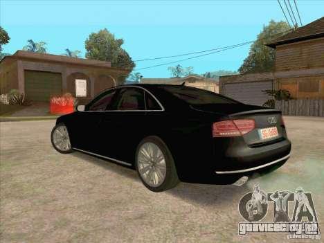 Audi A8 2010 для GTA San Andreas вид сзади слева