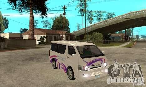 Toyota Hiace для GTA San Andreas вид сбоку