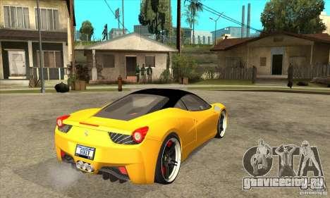 Ferrari 458 Italia custom для GTA San Andreas вид справа