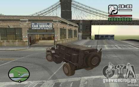 Военный грузовик для GTA San Andreas вид сзади слева