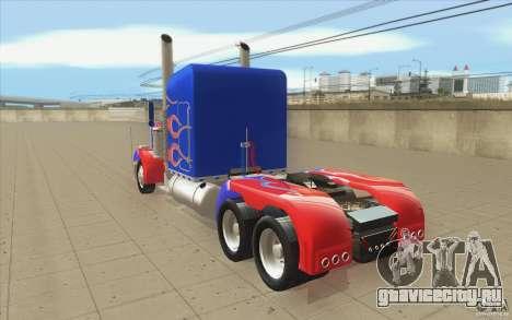 Peterbilt 379 Optimus Prime для GTA San Andreas вид сзади слева