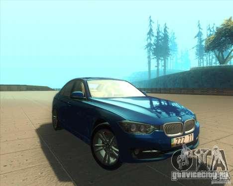BMW 3 Series F30 2012 для GTA San Andreas вид сзади