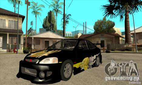 Honda Civic Tuning Tunable для GTA San Andreas вид слева