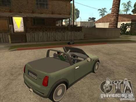 Mini Cooper S Cabrio для GTA San Andreas вид сзади