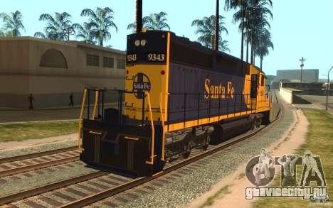 Локомотив SD 40 Santa Fe Blue/Yellow для GTA San Andreas вид сзади слева