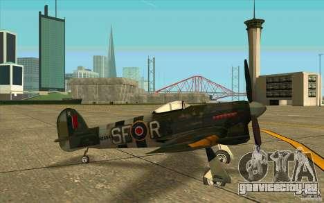 Hawker Typhoon для GTA San Andreas вид сзади слева