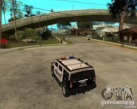 AMG H2 HUMMER SUV SAPD Police для GTA San Andreas вид сзади слева