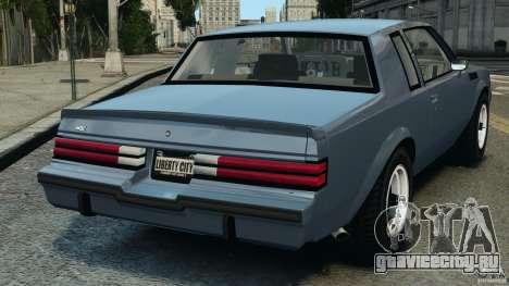 Buick GNX 1987 для GTA 4 вид сзади слева