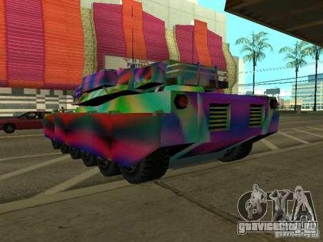 Веселенькая расцветка танка для GTA San Andreas вид сзади слева