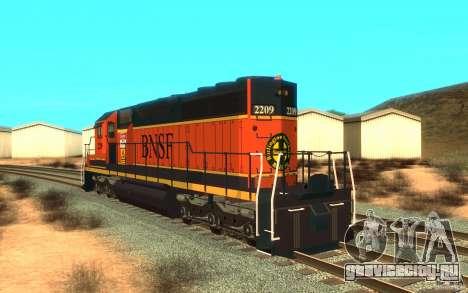 Локомотив SD 40 Union Pacific BNSF для GTA San Andreas вид сзади слева
