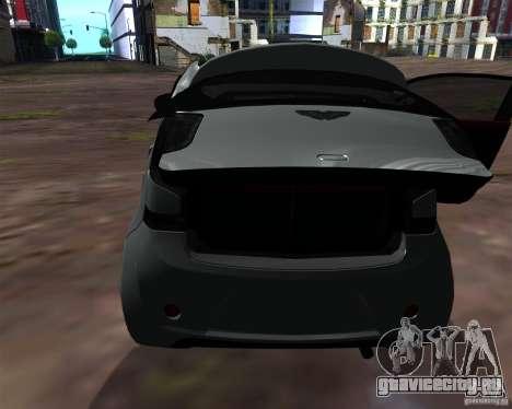 Aston Martin Cygnet для GTA San Andreas вид изнутри