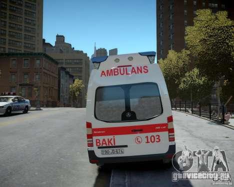 Mercedes-Benz Sprinter Azerbaijan Ambulance v0.2 для GTA 4 вид сзади