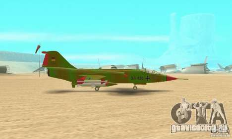 F-104 Super Starfighter(зелёного цвета) для GTA San Andreas вид сзади слева