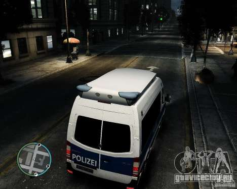 Mercedes Sprinter German Police для GTA 4 вид сзади