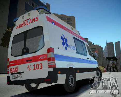 Mercedes-Benz Sprinter Azerbaijan Ambulance v0.2 для GTA 4 вид слева