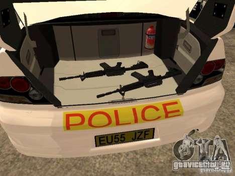 Mitsubishi Lancer EVO 8 Uk Policecar для GTA San Andreas вид сзади