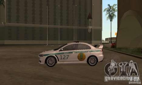 Mitsubishi Lancer Evolution X Полиция Казахстана для GTA San Andreas вид сзади слева