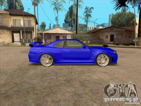 Nissan Skyline GT-R R34 from FnF 4 v.2.0 для GTA San Andreas вид сзади слева