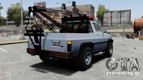 Rancher Tow Truck ELS для GTA 4 вид сзади слева