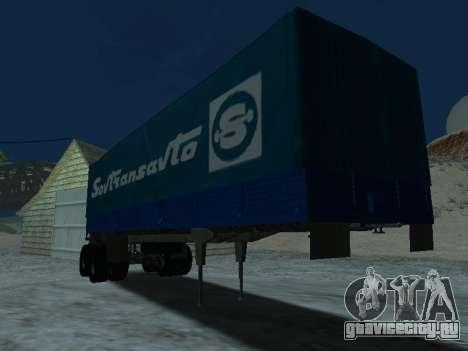 Прицеп для КамАЗа 5410 для GTA San Andreas вид сзади