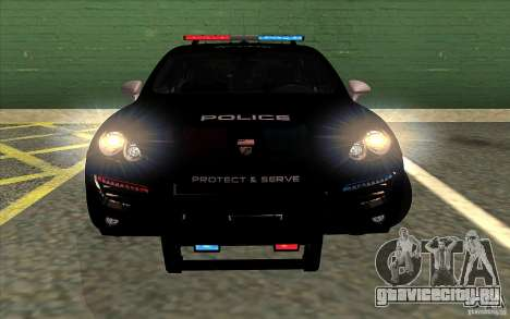 Porsche Cayenne Turbo 958 Seacrest Police для GTA San Andreas вид сзади слева