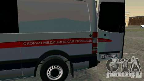 Mercedes-Benz Sprinter Реанимация для GTA San Andreas вид сзади