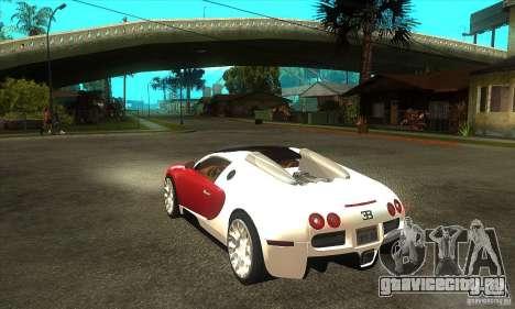 Bugatti Veyron Grand Sport для GTA San Andreas вид сзади слева