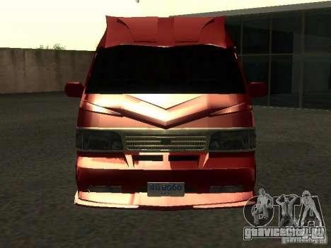 Toyota Hiace Vanning для GTA San Andreas вид изнутри