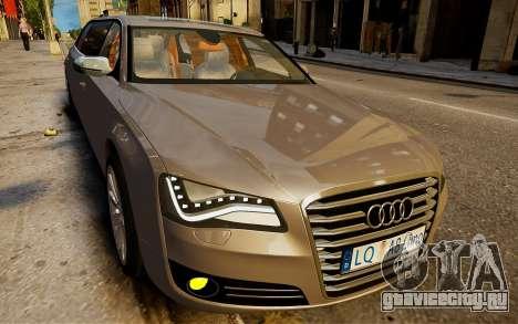 Audi A8 лимузин для GTA 4 вид сзади слева