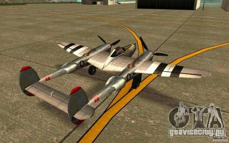 P38 Lightning для GTA San Andreas вид сзади слева