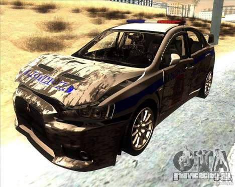 Mitsubishi Lancer Evolution X ППС Полиция для GTA San Andreas вид сверху