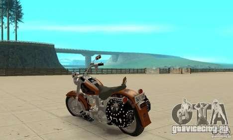 Harley Davidson FLSTF (Fat Boy) v2.0 Skin 2 для GTA San Andreas вид сзади слева