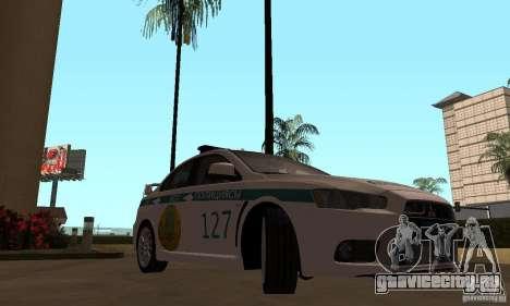Mitsubishi Lancer Evolution X Полиция Казахстана для GTA San Andreas вид справа
