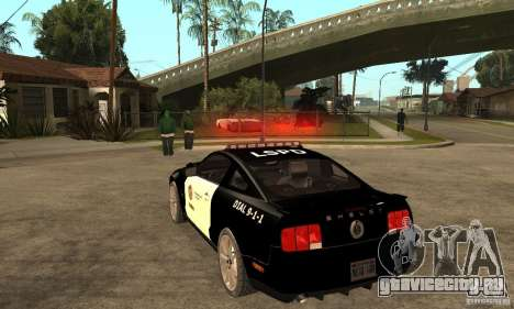 Shelby GT500KR Edition POLICE для GTA San Andreas вид сзади слева