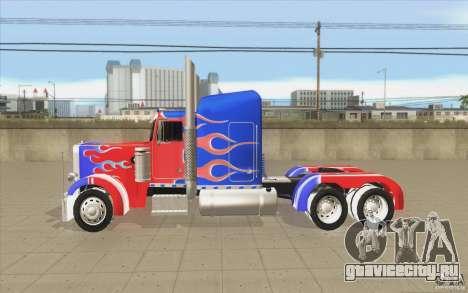 Peterbilt 379 Optimus Prime для GTA San Andreas вид слева
