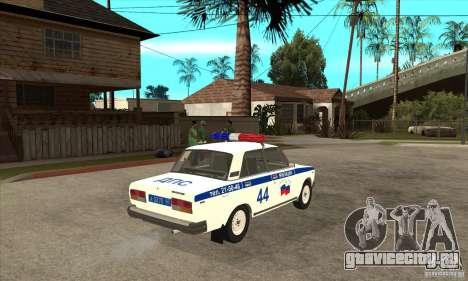 ВАЗ 2107 Police для GTA San Andreas вид справа