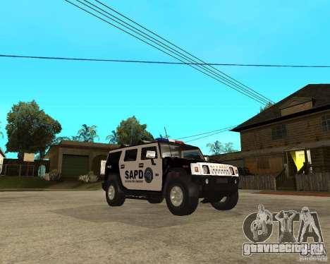 AMG H2 HUMMER SUV SAPD Police для GTA San Andreas вид сзади