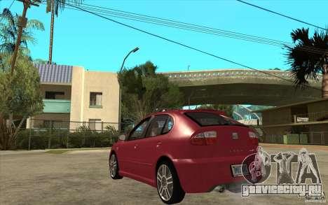 Seat Leon Cupra - Stock для GTA San Andreas вид сзади слева