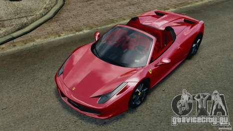 Ferrari 458 Spider 2013 v1.01 для GTA 4 вид снизу