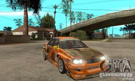 Subaru Impreza D1 WRX Yukes Team Orange для GTA San Andreas вид сзади