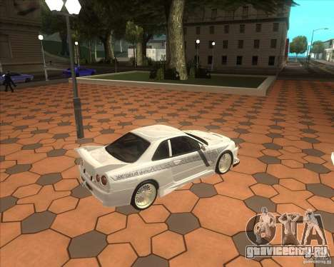 Nissan Skyline R34 Veilside street drag для GTA San Andreas вид сзади слева