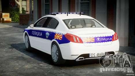 Peugeot 508 Macedonian Police [ELS] для GTA 4 вид сбоку