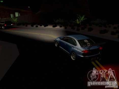Mitsubishi Lancer Evolution X Time Attack для GTA San Andreas вид снизу