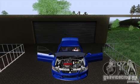 Mitsubishi Lancer Evolution 9 MR Edition для GTA San Andreas вид изнутри