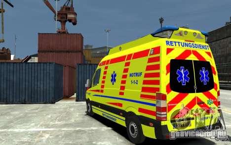 Mercedes-Benz Sprinter 2011 Ambulance для GTA 4 вид сзади слева