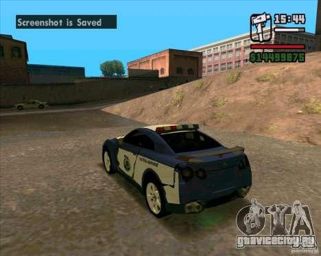 Nissan GTR35 Police Undercover для GTA San Andreas вид справа